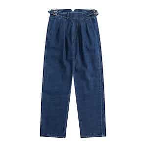 Blue One-Washed Japanese Denim Gurkha Trousers