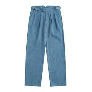 Blue Stonewashed Japanese Denim Gurkha Trousers