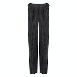 Blue & Grey Box Check Wool Flannel Pleated Aleksandar Trousers