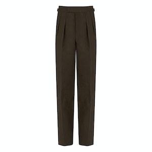 Tobacco Linen Pleated Slim Aleks Trousers