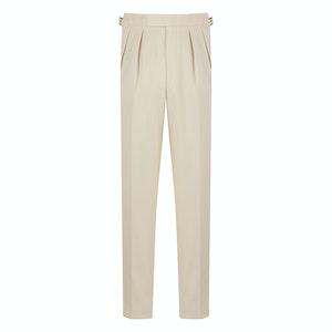 Cream Cotton Pleated Aleksandar Sport Trousers