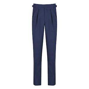 Summer Blue Tropical Worsted Wool Pleated Aleksandar Trousers