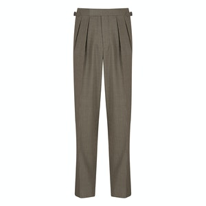 Grey Houndstooth 4-Ply Tropical Worsted Wool Pleated Aleksandar Trousers