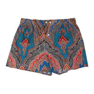 Red Cotton Paisley Print Boxers