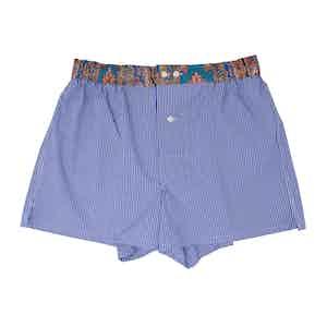 Blue Cotton Gingham Paisley Print Waist Boxers
