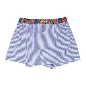 Blue Cotton Striped Paisley Print Waist Boxers