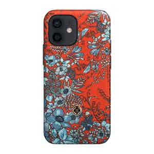 Light Blue and Red Silk Jardin Osmanthus iPhone 12 Mini Case