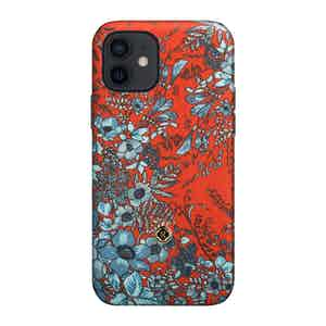 Light Blue and Red Silk Jardin Osmanthus iPhone 12/ 12 Pro Case