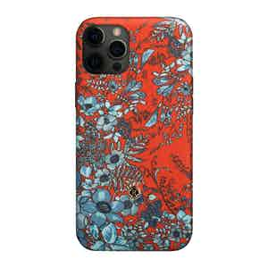 Light Blue and Red Silk Jardin Osmanthus iPhone 12 Pro Max Case