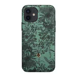 Green and Black Silk Jardin Sage iPhone 12/12 Pro Case