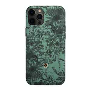 Green and Black Silk Jardin Sage iPhone 12 Pro Max Case