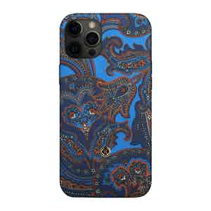 Blue and Red Paisley Silk 1937 iPhone 12 Pro Max Case