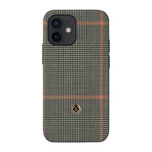 Grey Prince of Wales Check Silk Taormina iPhone 12 Mini Case