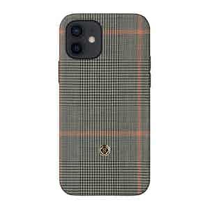 Grey Prince of Wales Check Silk Taormina iPhone 12/12 Pro Case