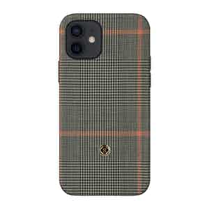 Grey Prince of Wales Check Silk Taormina iPhone 12/12 Pro Case