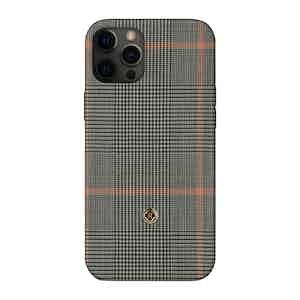 Grey Prince of Wales Check Silk Taormina iPhone 12 Pro Max Case