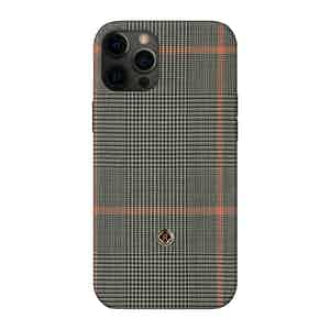 Grey Prince of Wales Check Silk Taormina iPhone 12 Pro Max Case