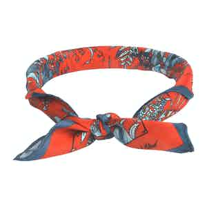Light Blue and Red Silk Jardin Osmanthus Neckerchief