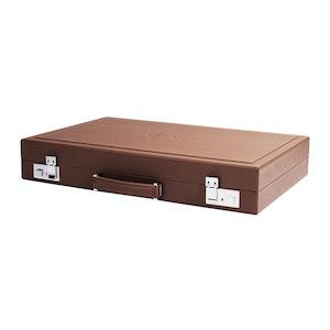 Mocha & Caramel Leather Mayfair Backgammon Case