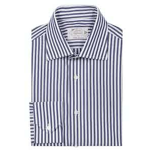 Midnight Blue Cotton Striped Shirt
