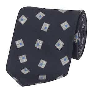 Midnight Blue Silk Floppy Disks Printed Tie