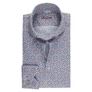 Blue Linen Kaleidoscope Pattern Slim Fit Shirt
