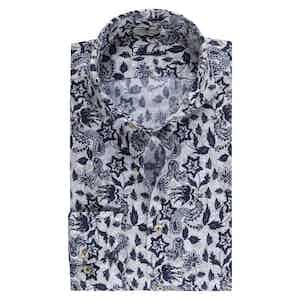 Blue Linen Flower Print Shirt