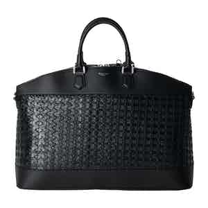 Black Woven Lamb Nappa Leather and Italian Calfskin East/West Tote Bag