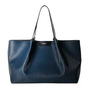 Ocean Blue and Black Calf Leather Stepan Coated Canvas Secret Tote Bag