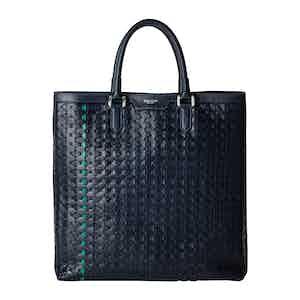 Navy Blue Woven Lamb Nappa Leather Mosaico Vertical Tote Bag