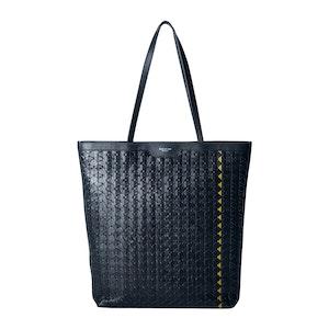 Navy Blue Woven Lamb Nappa Leather Mosaico Shopper Bag