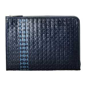 Navy Blue and Azure Woven Lamb Nappa Leather Mosaico Document Folio