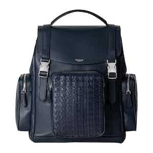 Navy Blue Woven Lamb Nappa Leather Mosaico Backpack