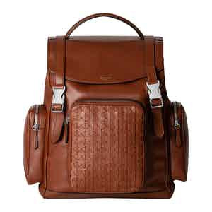 Cognac Woven Lamb Nappa Leather Mosaico Backpack