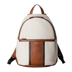 Neutral Cotton and Linen Blend Canvas Tumbled Calf Leather Backpack