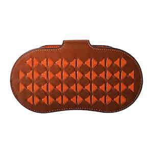 Cognac and Orange Woven Lamb Nappa Leather Mosaico Sunglasses Holder