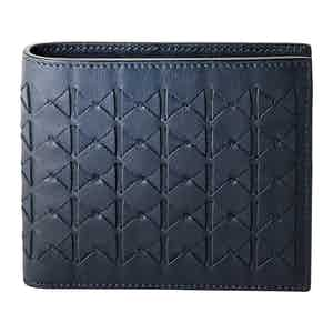 Blue Woven Lamb Nappa Leather 8 Card Case