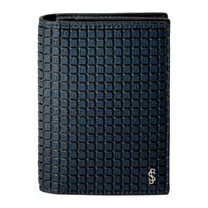 Ocean Blue and Black Calf Leather Business Card Case