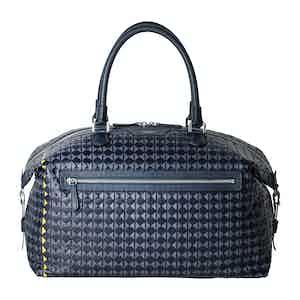 Navy Blue and Avio Woven Lamb Nappa Leather Mosaico Travel Bag