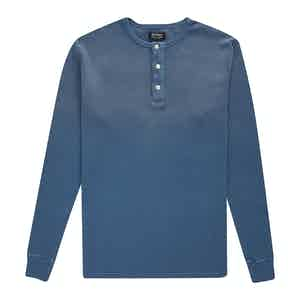 Blue Cotton Waffle Knit Tuco Henley Shirt