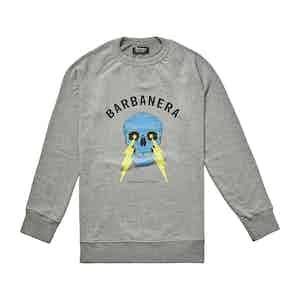 Meroni Grey Cotton Skull And Lightning Bolt Graphic Crewneck Sweatshirt