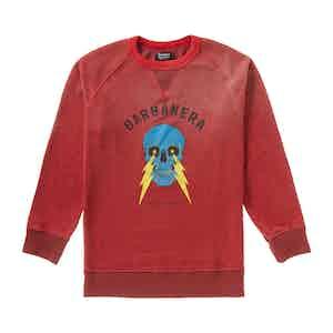 Red Cotton Skull And Lightning Bolt Graphic Crewneck Sweatshirt