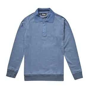 Indigo Blue Cotton Polo Neck Sweatshirt