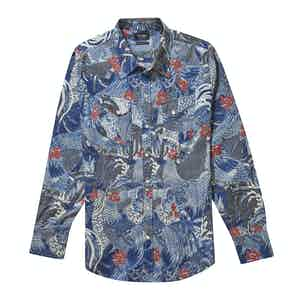 Blue Cotton Handprinted Japanese Rooster Western Shirt
