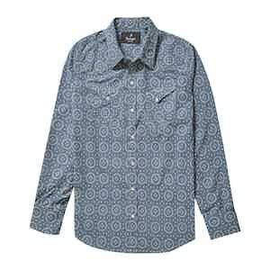 Light Blue Cotton Printed Japanese Bandana Western Shirt