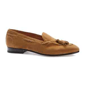 Light Brown Suede Lawrence Tassel Penny Loafers