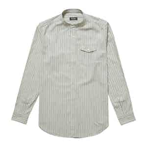 White and Blue Japanese Selvedge Cotton Striped Band Collar Giuliano Shirt