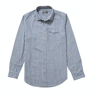 Blue White and Red Japanese Selvedge Cotton Striped Faulkner Shirt