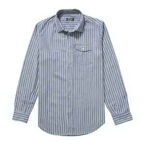 Blue White and Red Japanese Selvedge Cotton Striped Faulkner Shirt