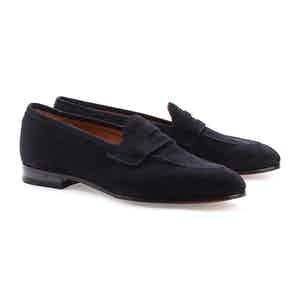 Dark Blue Suede Lawrence Penny Loafers